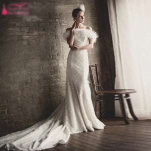 Gorgeous Mermaid Wedding Dress with Lace & Fur