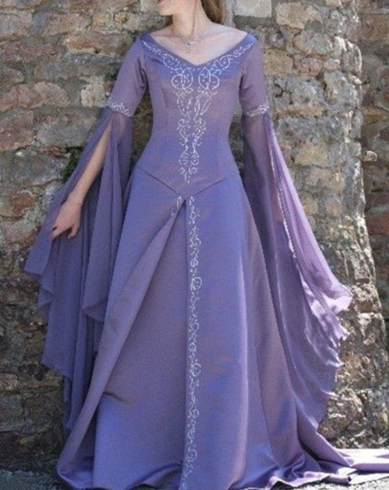 Medieval Purple Long Sleeves Wedding Dress
