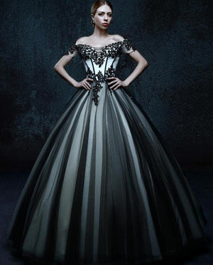 Black And White Vintage Tulle Gothic Wedding Dresses  Off the Shoulder