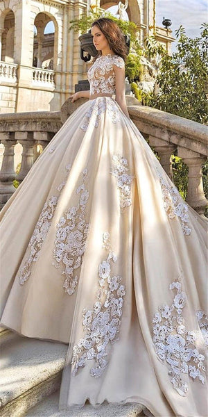 Vintage Satin Wedding Dress with Cathedral Train