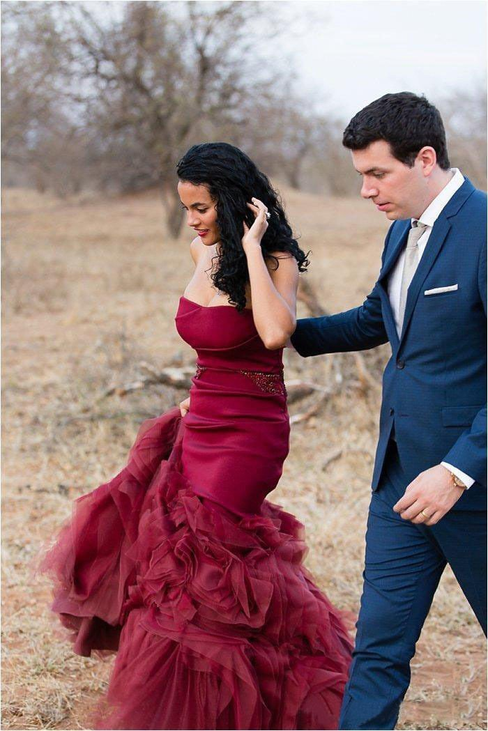 Vintage Burgundy Mermaid Colorful Wedding Dress