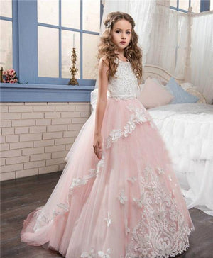 Princess blush pink flower girl dress