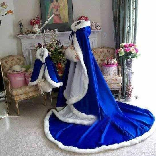 Custom Made Stunning Royal Blue Long Winter Bridal Capes
