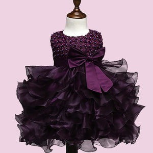 tiered ruffle & sashes flower Girl Dress