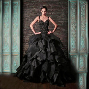 Victorian Gothic Black Wedding Dress