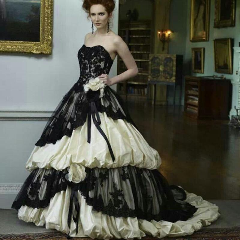 Fashion Gothic Wedding Dress . Satin with Black Lace Ruffles