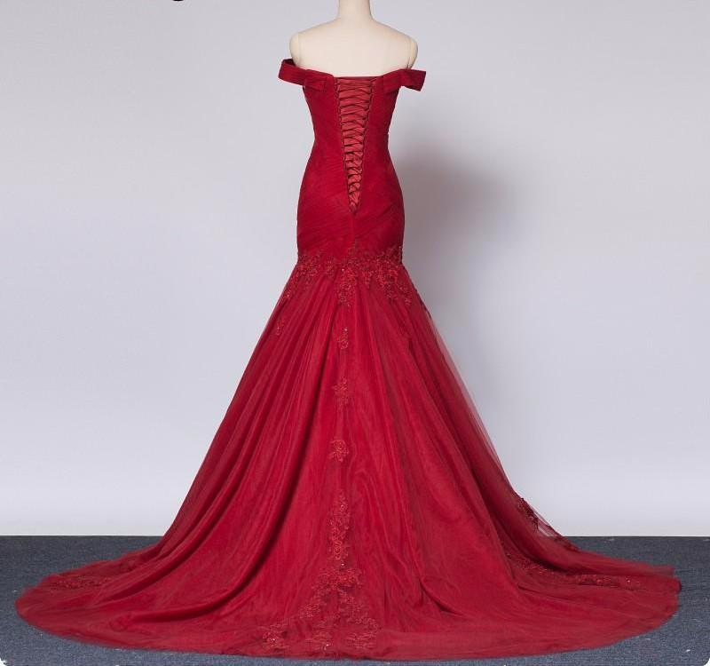 Burgundy Red Mermaid Wedding Dress