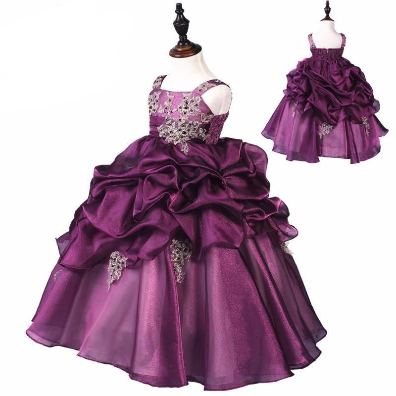 Elegant Purple Flower Girl Dress