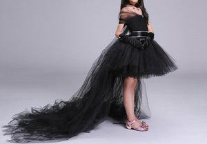 Black Flower Girl Dress with Train