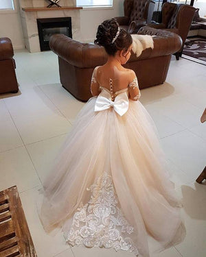 Elegant Sweetheart Appliqued Flower Girls Dress