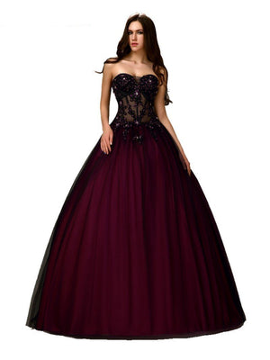 Gothic Black / Burgundy Beaded Bodice  Gown