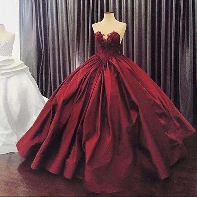 Burgundy Puffy Ball Gown