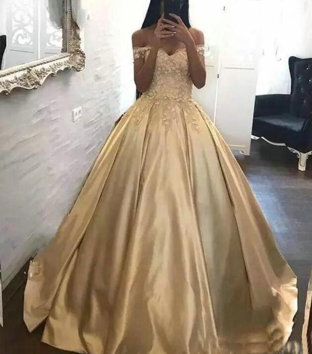 Beautiful and Elegant Golden  Gown