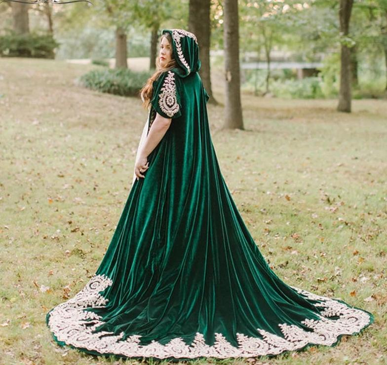 Dark Green Gothic Velvet Wedding Cloak With Hood