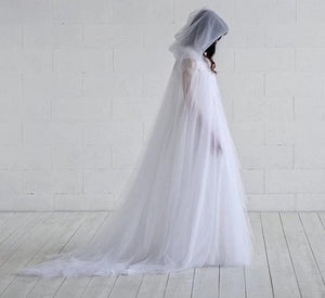 Elegant Gothic Fairy Bridal Cloak with Hood