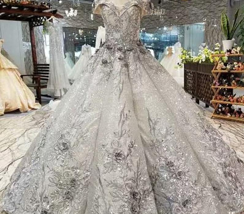 Silver Lace Ball Gown with Handmade Flowers