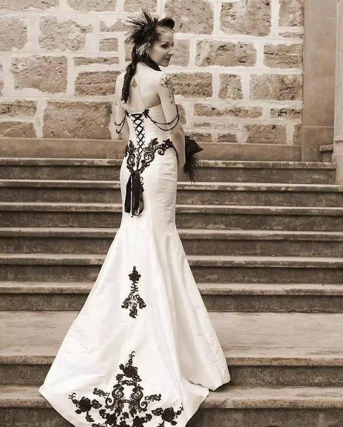 White and Black Lace Gothic Wedding Dress