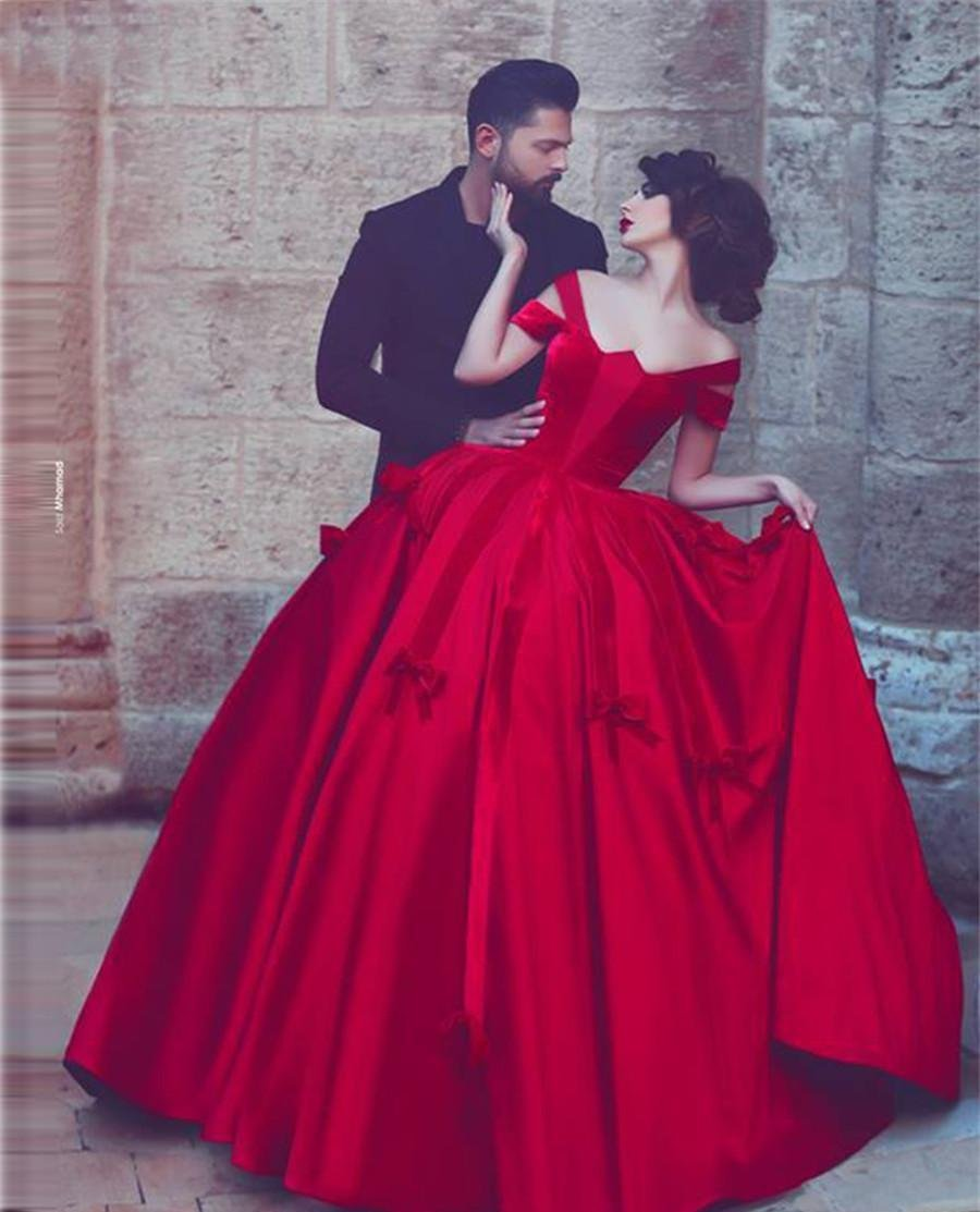 Red Satin Bow Gothic Ball Gown ( Available in Black)