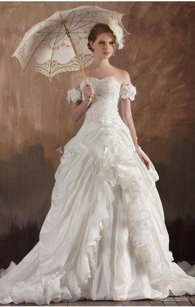 Vintage Gothic Handmade Flowers And Ruffles Bridal Gown (Custom Colors Available)