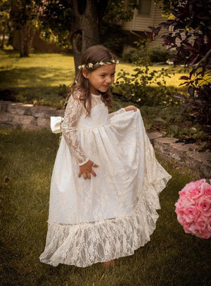 Bohemian Long Sleeve Lace Flower Girl Dress