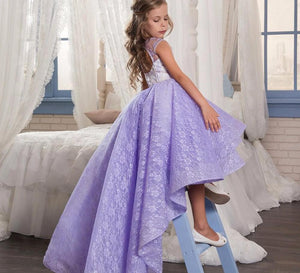 Lavender Lace High Low Flower Girls Dress