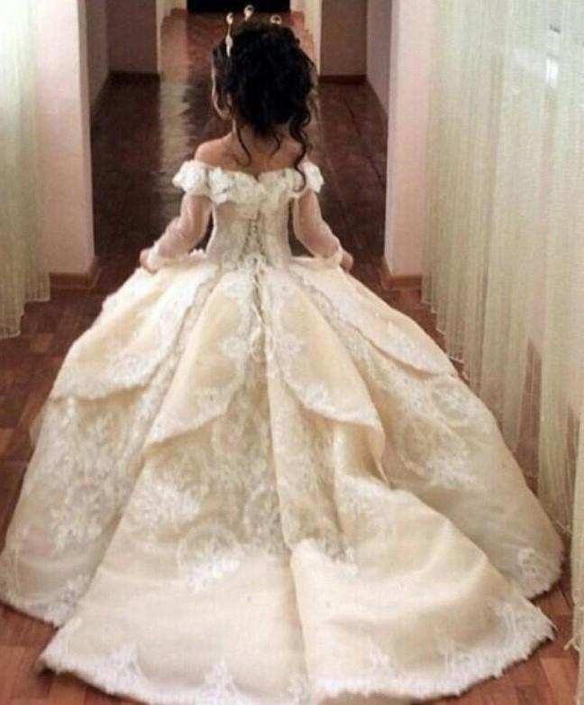 Elegant Flower Girl  Lace Ball Gown
