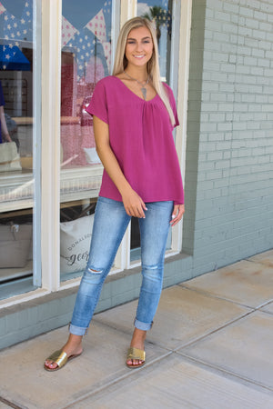 Carla Drop Shoulder V-Neck Top
