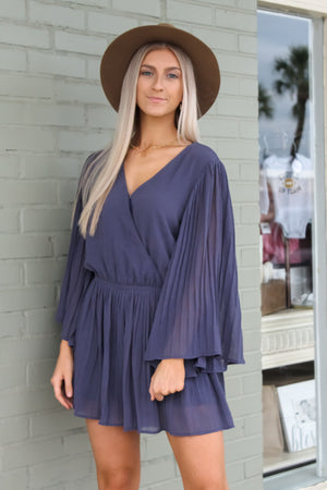 Krista Pleated Surplice Romper