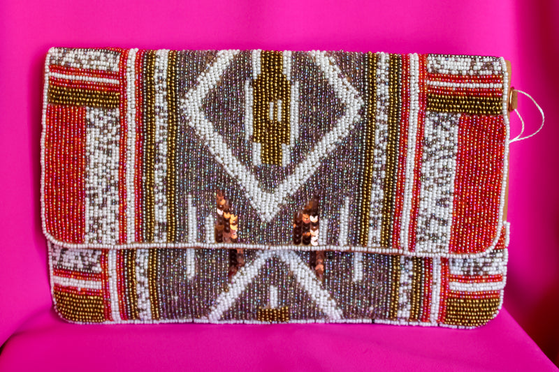 Tribal Pattern Beaded Clutch