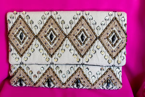 Rhombus Beaded Clutch