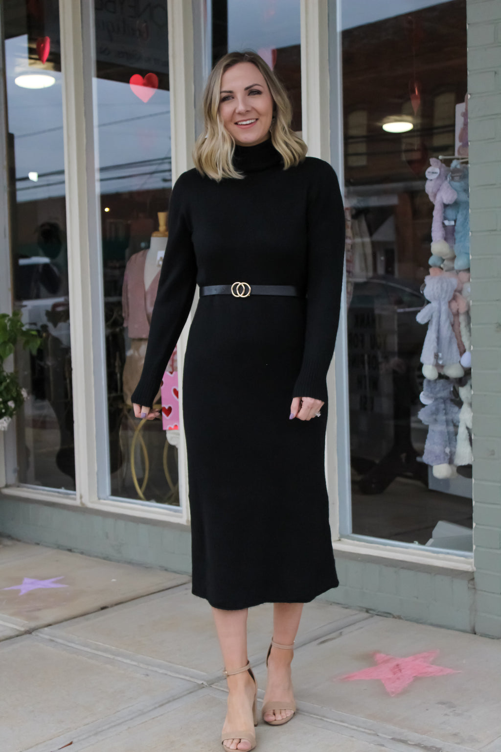 Sofia Knit Belted Sweater Dress