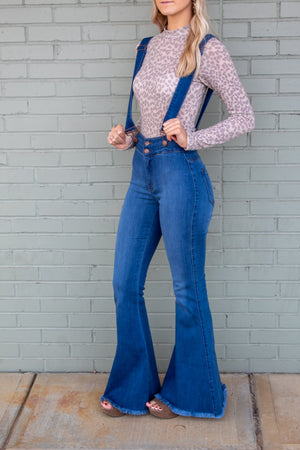 Denim Suspender Flares
