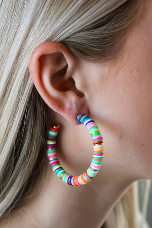 Disc Beaded Open Hoops