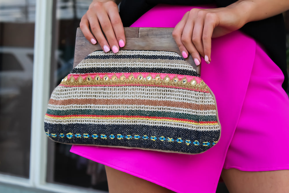 Jute Striped Clutch