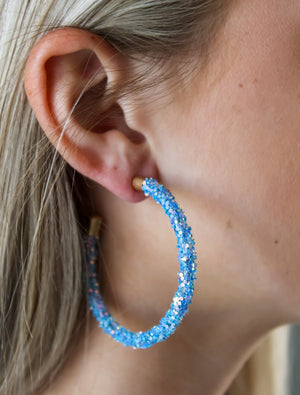 55mm Glitter Open Hoops
