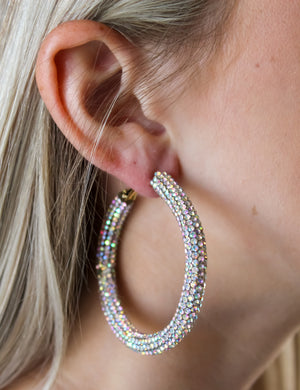 50mm Crystal Paved Hoops