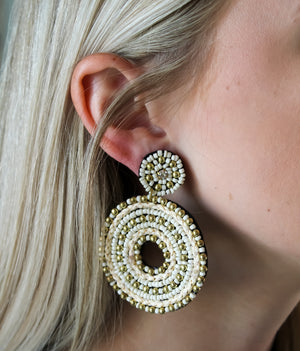 Seed Bead Circle Earrings
