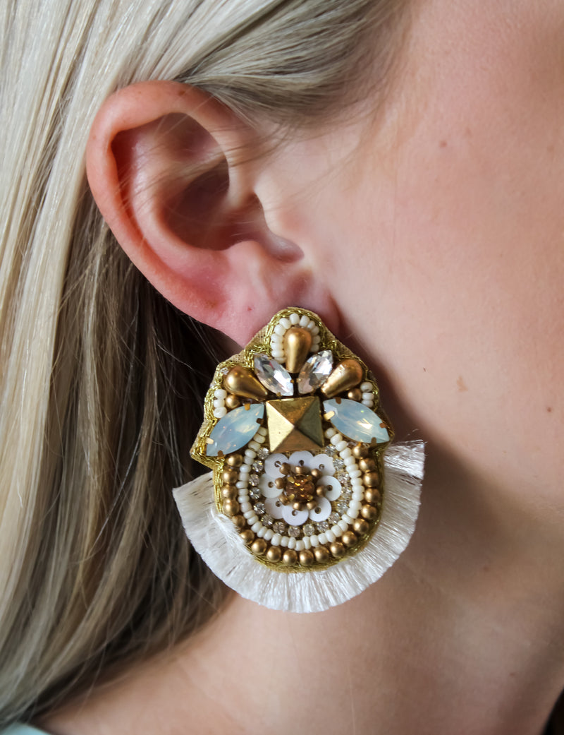 Peyton Embellished Fringe Post Earrings