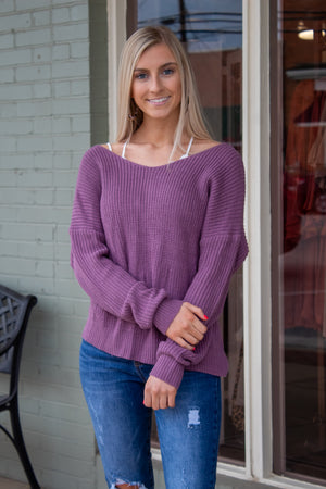 Twist Back Sweater: Lilac