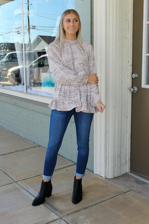 Selena Tiered Mock Neck Top