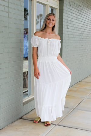 Ruffled OTS Swiss Dot Maxi