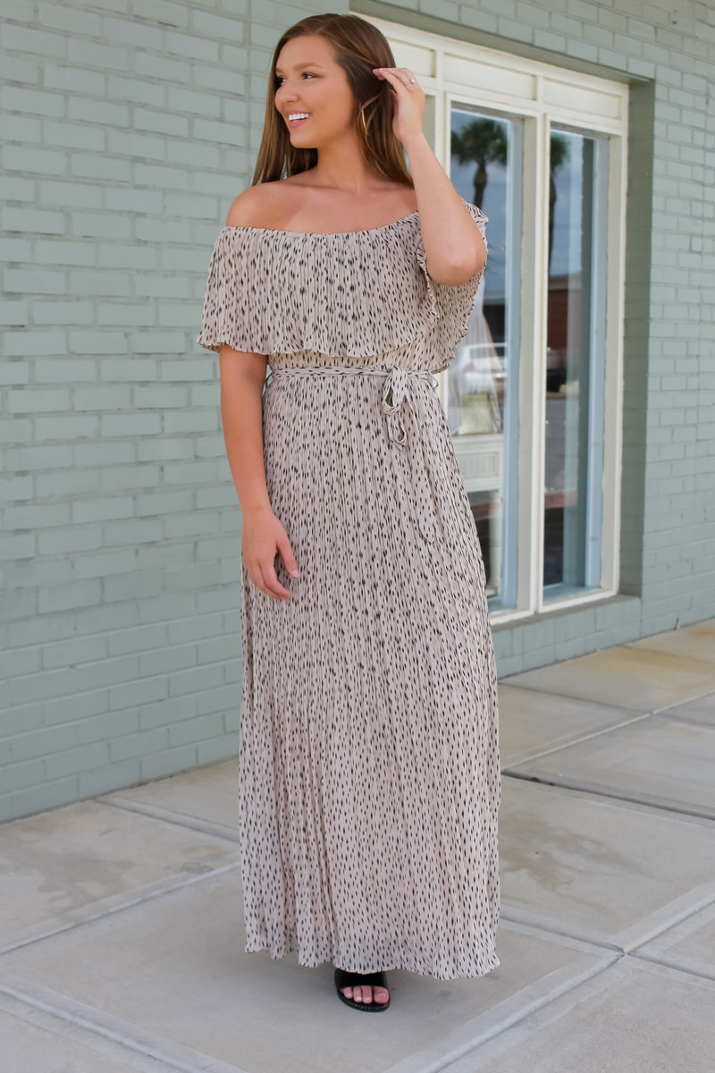 Ava Pleated Off The Shoulder Maxi