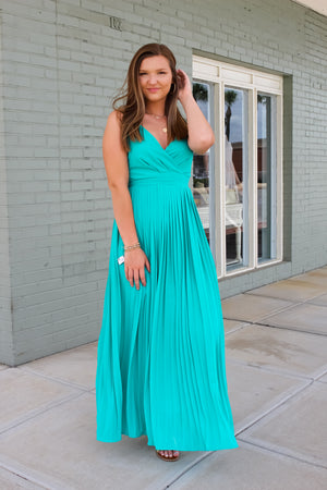 Justly Jade Pleated Maxi
