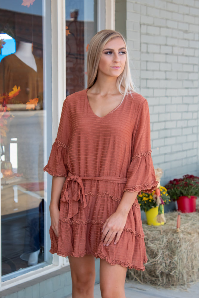 Rust Layered Ruffle Dress