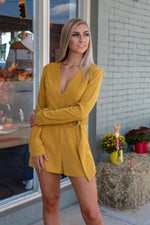 V-Neck Ring Romper: Marigold