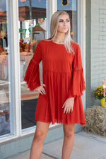 Ruffled Raw Hem Dress: Rust