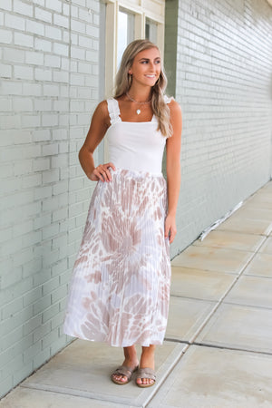 Tie-Dye For Pleated Midi Skirt