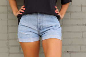 High Rise Denim Short