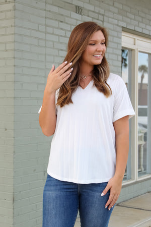 Avery Ribbed V-Neck