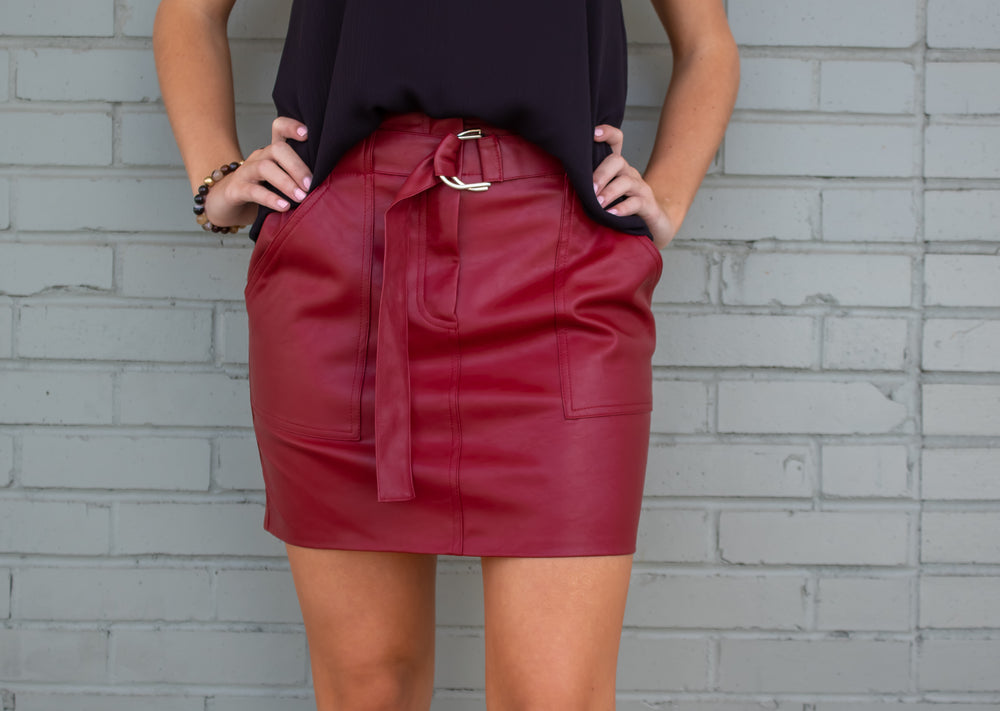 Meredith Belted Leather Skirt